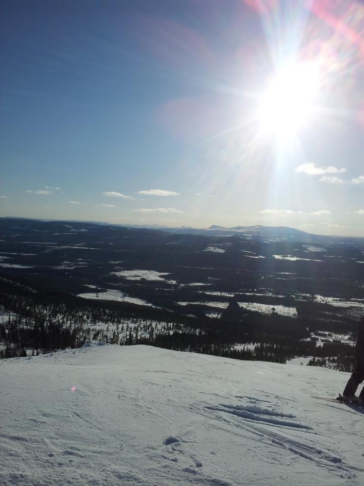Toppen på en av backarna i Björnrike. Riktigt bra skidåkning :)