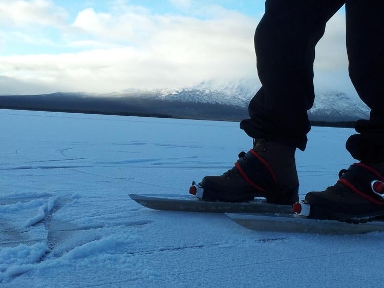 Äntligen skridskopremiär.  Den här delen av Ottsjön hade också grym is som var täckt med en flortunt snötäcke.